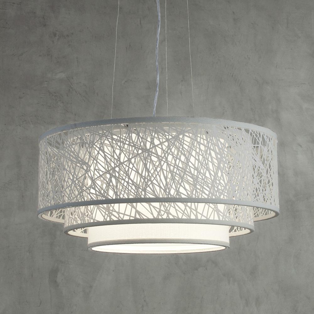 Luminaria De Teto Para Sala De Tv ~ Pendente teto triplo 60 traços branco  Iluminação  Art Maison