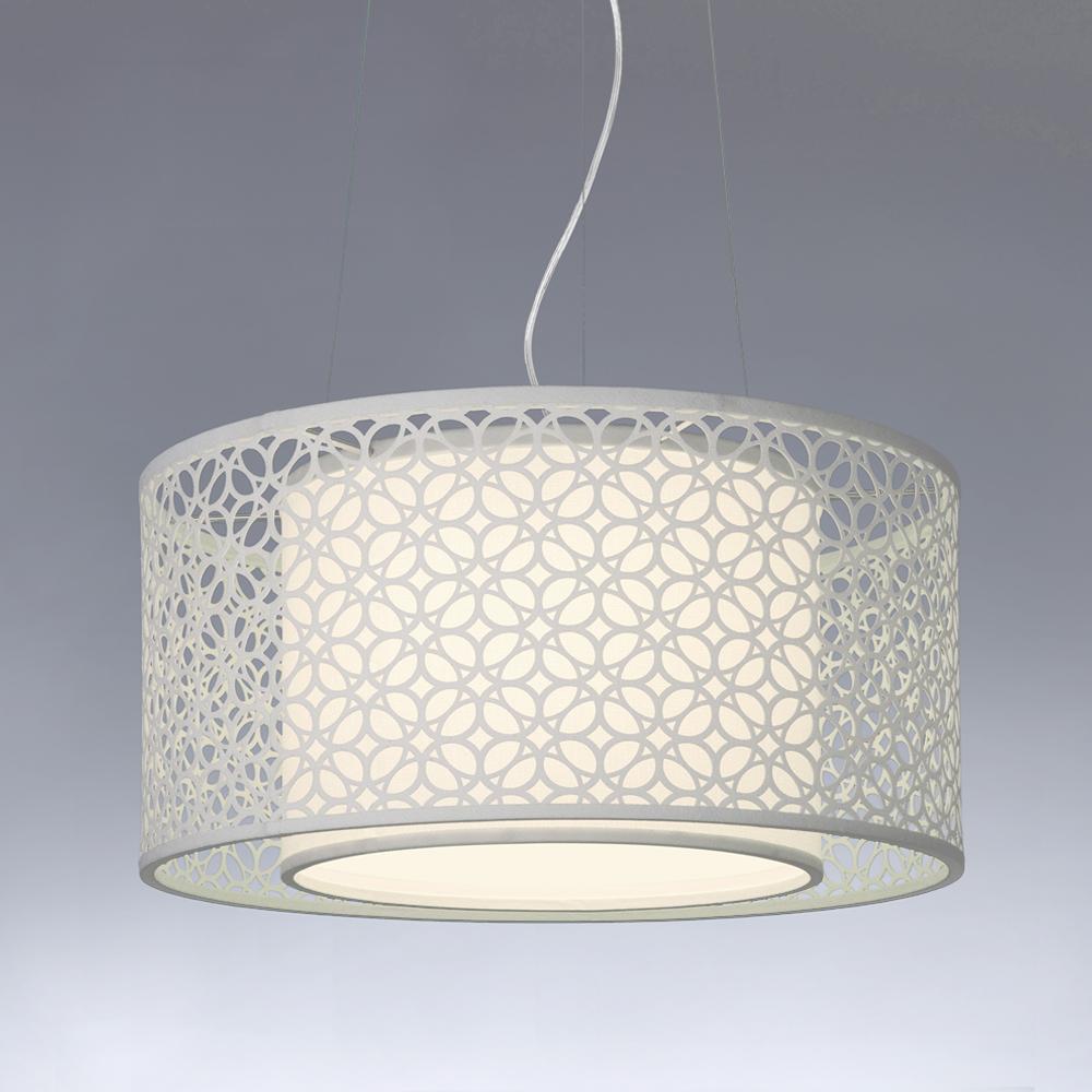 Pendente teto duplo 60 argolas branco Iluminaç u00e3o Art Maison